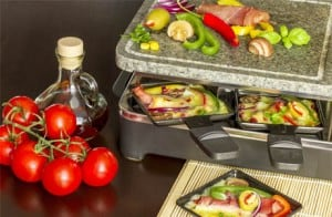Raclette with cheese, vegetables &  ham